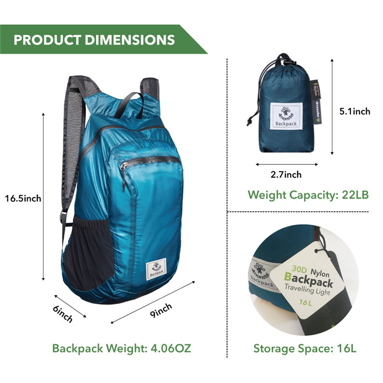 30D Waterproof Nylon Backpack For Outdoor Travel OEM Factory