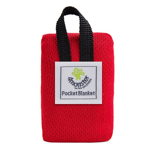Packable polyester pocket blanket for outdoor picnic